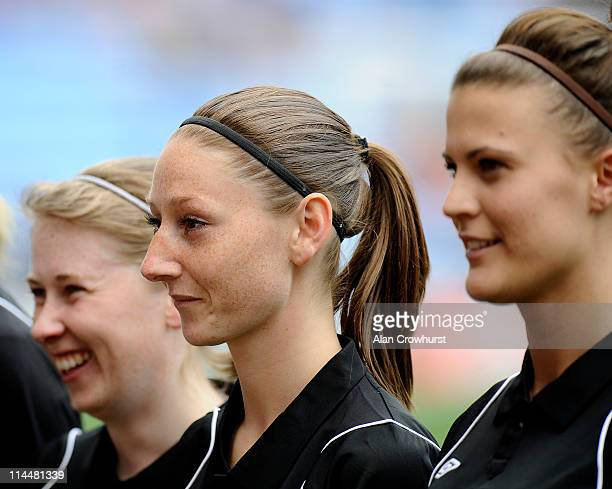 Referee Sian Massey lines up with her assistants during the Women's FA Cup Final between Arsenal LFC and Bristol Academy at The Ricoh Arena on May 21...
