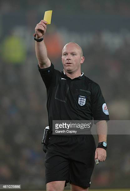 Referee Simon Hooper during the FA Cup Third Round match between Stoke City and Wrexham at Britannia Stadium on January 4 2015 in Stoke on Trent...