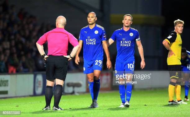 Referee Simon Hooper forces Yohan Benalouane of Leicester City to be substituted after a reckless challenge during the pre season friendly between...