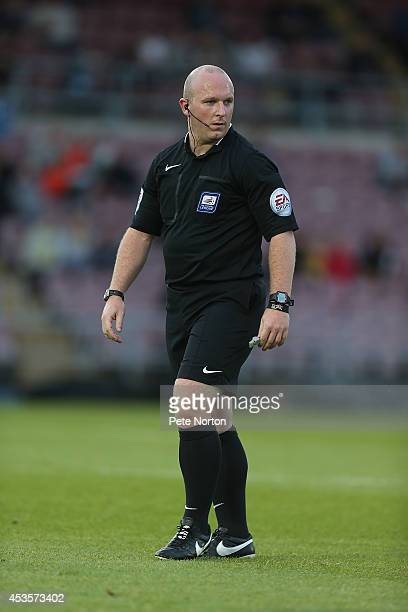 Referee Simon Hooper in action during the Capital One Cup First Round match between Coventry City and Cardiff City at Sixfields Stadium on August 13...