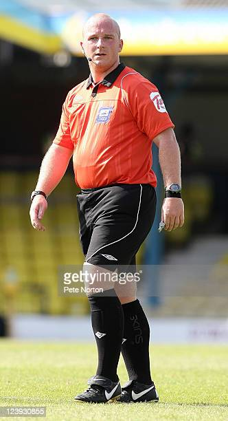 Referee Simon Hooper in action during the npower League Two match between Southend United and Northampton Town at Roots Hall on September 3 2011 in...