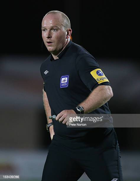 Referee Simon Hooper in action during the npower League Two match between Northampton Town and Gillingham at Sixfields Stadium on October 2 2012 in...