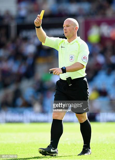Referee Simon Hooper in action during the Sky Bet Championship match between Aston Villa and Nottingham Forest at Villa Park on September 11 2016 in...