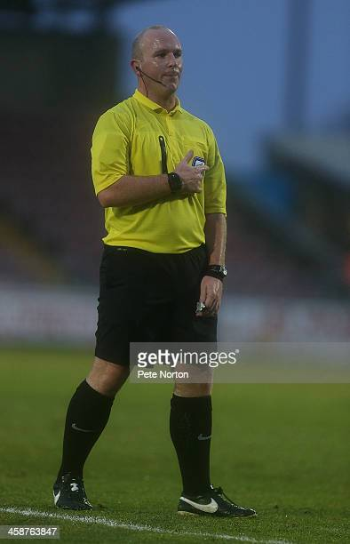 Referee Simon Hooper in action during the SkyBet League Two match between Northampton Town and Wycombe Wanderers at Sixfields Stadium on December 21...