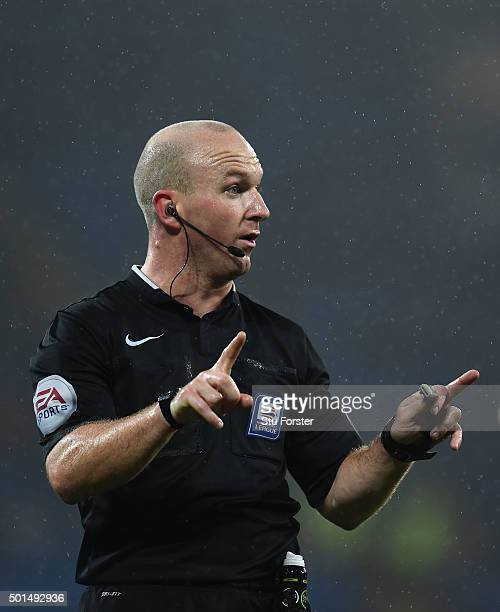 referee Simon Hooper reacts during the Sky Bet Championship match between Cardiff City and Brentford at Cardiff City Stadium on December 15 2015 in...