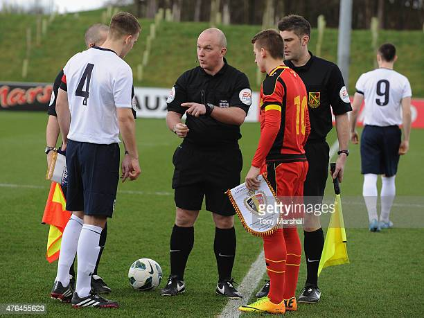 Referee Simon Hooperat the coin toss with Bryn Morris of England and Jari Vandeputte of Belgium during the England v Belgium U18 International...