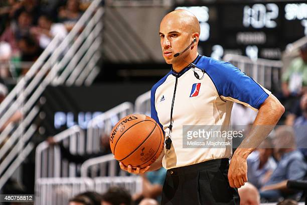 NBA referee stands on the court during the NBA Summer League game between the on July 6 2015 at Enerrgy Solutions Arena in Salt Lake City Utah NOTE...