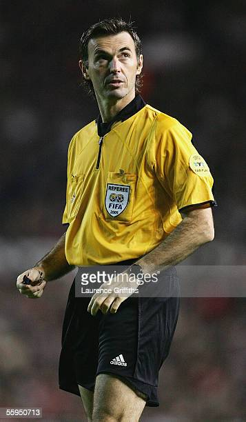 Referee Stefano Farina is pictured during the UEFA Champions League Group D match between Manchester United and Lille Metropole at Old Trafford on...