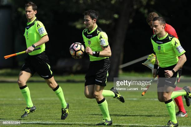 Referee Stefano Lorenzin and his assistant Nicola Badoer and Fabio Trivelli during the Primavera Tim juvenile match between FC Internazionale and...
