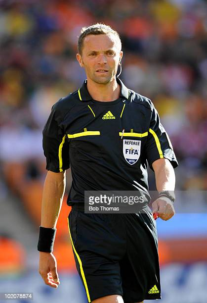 Referee Stephane Lannoy of France during the 2010 FIFA World Cup Group E match between Netherlands and Denmark at Soccer City Stadium on June 14 2010...