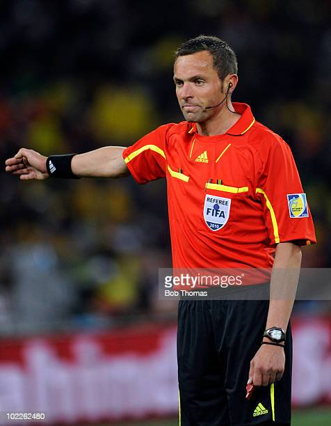 Referee Stephane Lannoy of France during the 2010 FIFA World Cup South Africa Group G match between Brazil and Ivory Coast at Soccer City Stadium on...