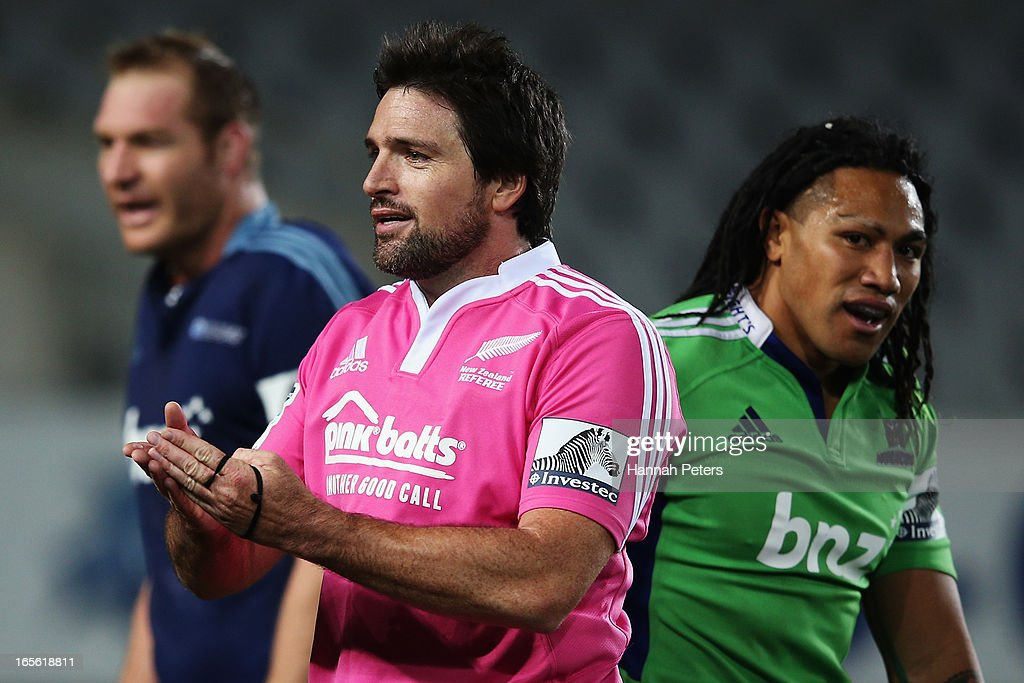 Referee Steve Walsh rules against Ma'a Nonu of the Highlanders during the round eight Super Rugby match between the Blues and the Highlanders at Eden Park on April 5, 2013 in Auckland, New Zealand.
