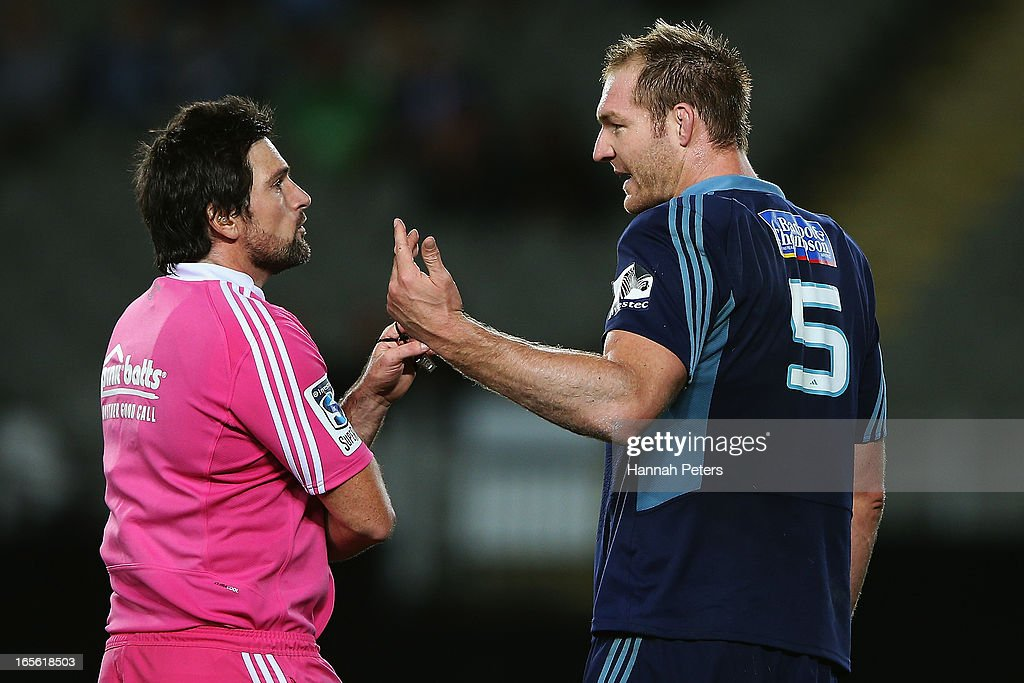 Referee Steve Walsh talks to Ali Williams of the Blues during the round eight Super Rugby match between the Blues and the Highlanders at Eden Park on April 5, 2013 in Auckland, New Zealand.