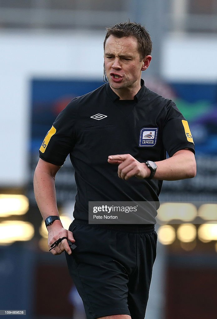 Referee Stuart Atwell in action during the npower League Two match between Chesterfield and Northampton Town at the Proact Srtadium on January 12, 2013 in Chesterfield, England.