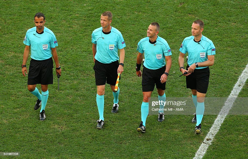 Referee <a gi-track='captionPersonalityLinkClicked' href=/galleries/search?phrase=Svein+Oddvar+Moen&family=editorial&specificpeople=6489051 ng-click='$event.stopPropagation()'>Svein Oddvar Moen</a>, 2nd right, and his assistant referees after the UEFA EURO 2016 Group C match between Ukraine and Poland at Stade Velodrome on June 21, 2016 in Marseille, France.