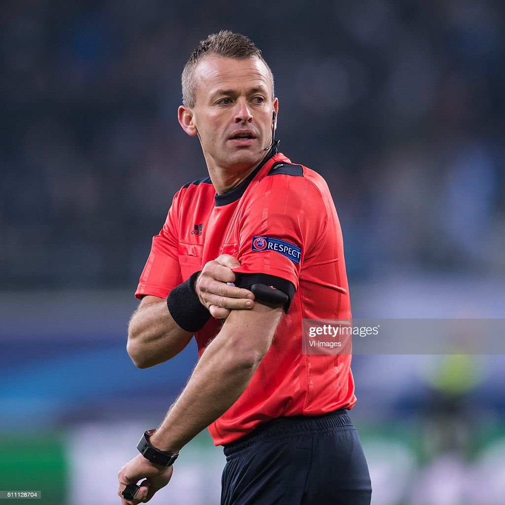 referee <a gi-track='captionPersonalityLinkClicked' href=/galleries/search?phrase=Svein+Oddvar+Moen&family=editorial&specificpeople=6489051 ng-click='$event.stopPropagation()'>Svein Oddvar Moen</a> during the UEFA Europa League round of 16 match between KAA Gent and VfL Wolfsburg on February 17, 2016 at the Ghelamco Arena in Gent, Belgium.