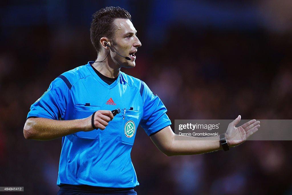 Referee Sven Jablonski reacts during the Second Bundesliga match between FSV Frankfurt and RB Leipzig at Volksbank Stadion on August 29, 2014 in Frankfurt am Main, Germany.