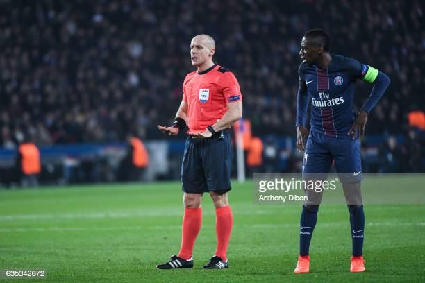 Referee Szymon Marciniak and Blaise Matuidi of PSG during the Champions league match between Paris Saint Germain and FC Barcelona at Parc des Princes...
