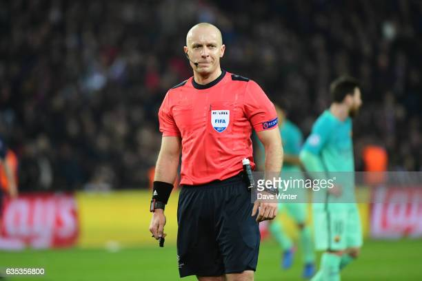 Referee Szymon Marciniak during the Champions League match between Paris Saint Germain and FC Barcelona at Parc des Princes on February 14 2017 in...