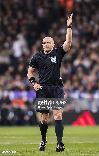 Referee Szymon Marciniak in action during the 201617 UEFA Champions League match between Real Madrid and Borussia Dortmund at the Santiago Bernabeu...