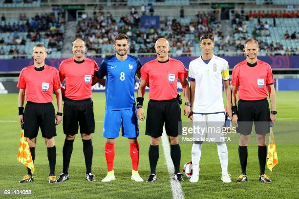 Referee Szymon Marciniak with Lucas Tousart of France and Rolando Mandragora of Italy before the FIFA U20 World Cup Korea Republic 2017 Round of 16...