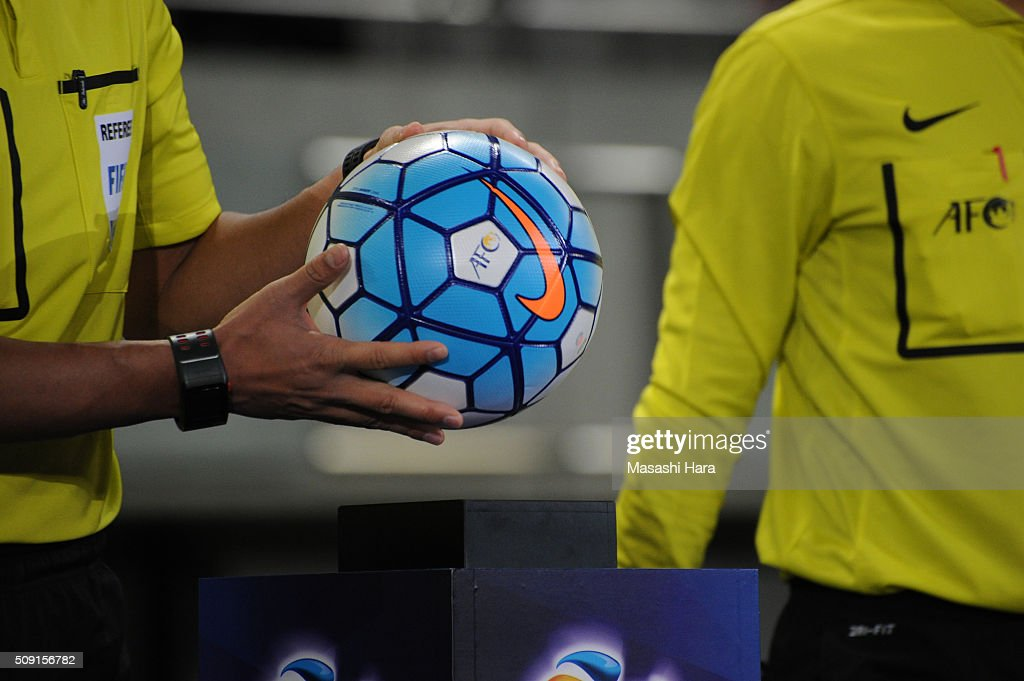 Referee takes a Official ball prior to the AFC Champions League playoff round match between FC Tokyo and Chonburi FC at the Tokyo Stadium on February 9, 2016 in Chofu, Japan.