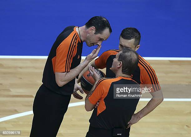 Referee team in action during the 2016/2017 Turkish Airlines EuroLeague Regular Season Round 19 game between Unics Kazan v Fenerbahce Istanbul at...