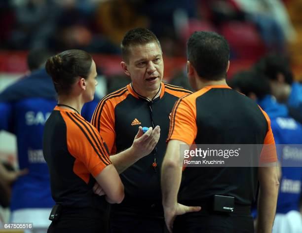 Referee team speak during the 2016/2017 Turkish Airlines EuroLeague Regular Season Round 24 game between Unics Kazan v Anadolu Efes Istanbul at...