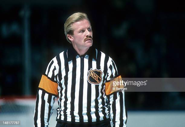 Referee Terry Gregson skates on the ice during an NHL game with the New Jersey Devils in October 1986 at the Brendan Byrne Arena in East Rutherford...