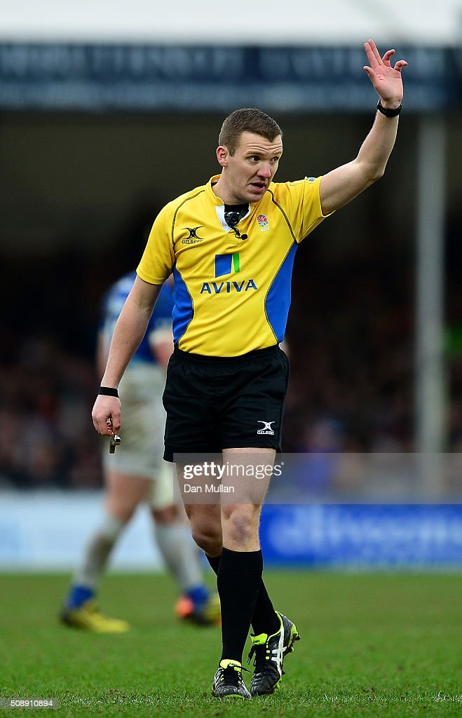 Referee, Thomas Foley signals a penalty during the Aviva Premiership match between Exeter Chiefs and Saracens at Sandy Park on February 7, 2016 in Exeter, England.
