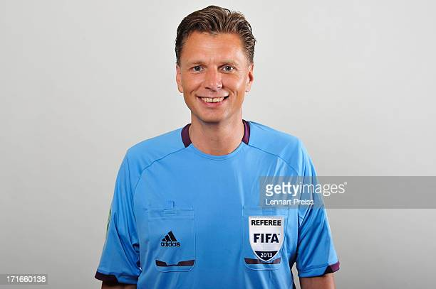 Referee Thorsten Kinhoefer poses during the DFB referee team presentation on June 27 2013 in Grassau Germany