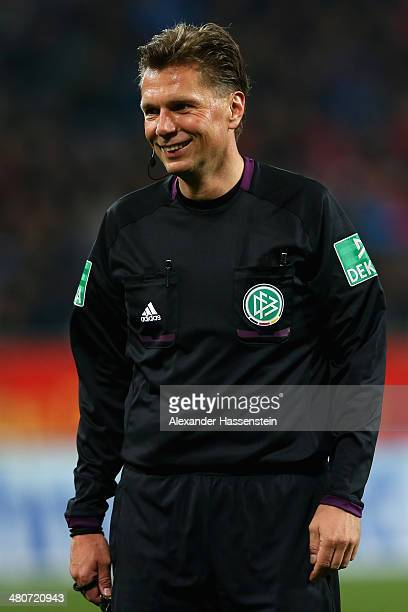 Referee Thorsten Kinshoefer during the Bundesliga match between FC Augsburg and Bayer Leverkusen at SGL Arena on March 26 2014 in Augsburg Germany