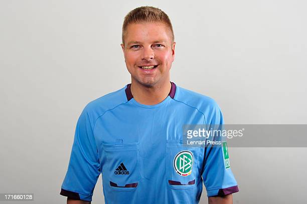 Referee Thorsten Schriever poses during the DFB referee team presentation on June 27 2013 in Grassau Germany