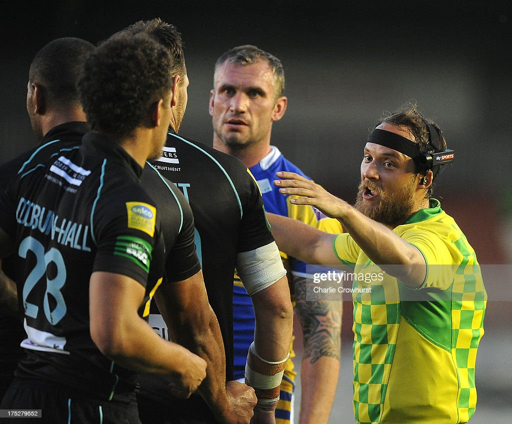 Referee Tim Roby with his sky sports head cam during the Super League match between London Broncos and Leeds Rhinos at Twickenham Stoop on August 01, 2013 in London, England.