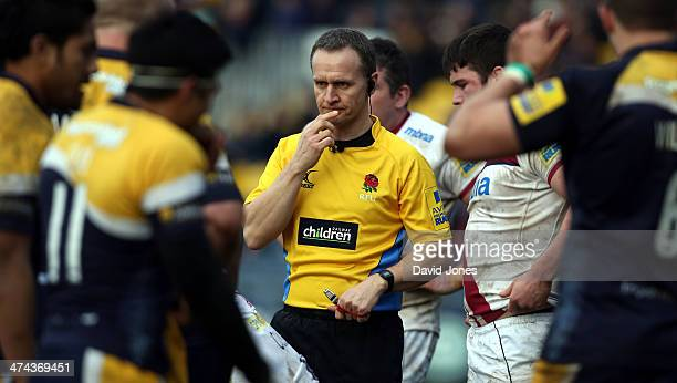 Referee Tim Wigglesworth in branded shirt at the Aviva Premiership match between Worcester Warriors and Sale Sharks at the Sixways Stadium on...