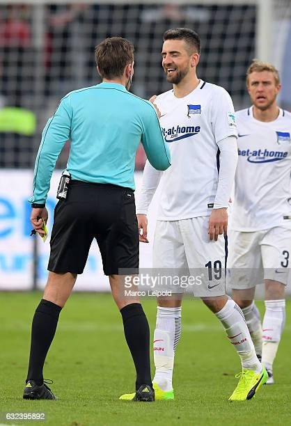 Referee Tobias Stieler and Vedad Ibisevic of Hertha BSC during the game between Bayer 04 Leverkusen and Hertha BSC on January 22 2017 in Leverkusen...