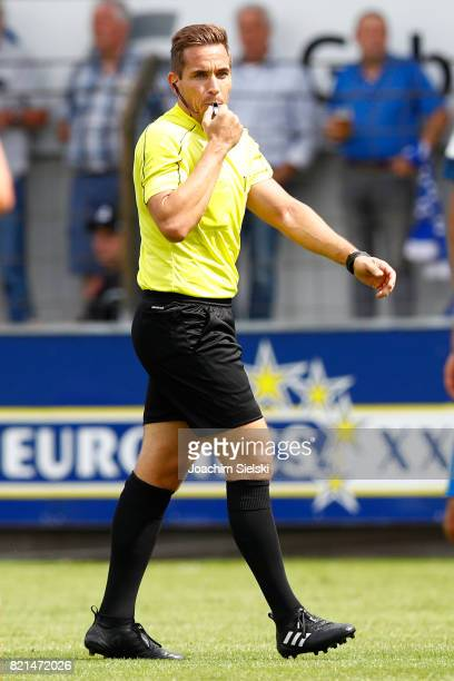 Referee Tobias Stieler during the 3 Liga match between SV Meppen and FC Wuerzburger Kickers at Haensch Arena on July 22 2017 in Meppen Germany