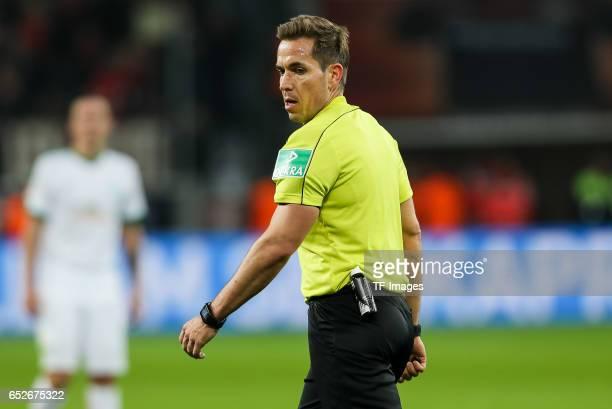 Referee Tobias Stieler looks on during the Bundesliga soccer match between Bayer Leverkusen and Werder Bremen at the BayArena stadium in Leverkusen...