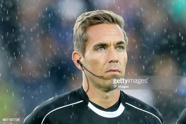 referee Tobias Stieler looks on during the UEFA European Under21 Championship match between Sweden and England at Arena Kielce on June 16 2017 in...