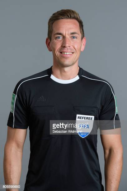 Referee Tobias Stieler poses during the DFB referee team presentation on July 5 2017 in Grassau Germany