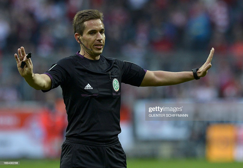 Referee Tobias Stieler reacts during the German first division Bundesliga football match FC Bayern Munich vs Fortuna Duesseldorf, in Munich southern Germany on March 9, 2013.