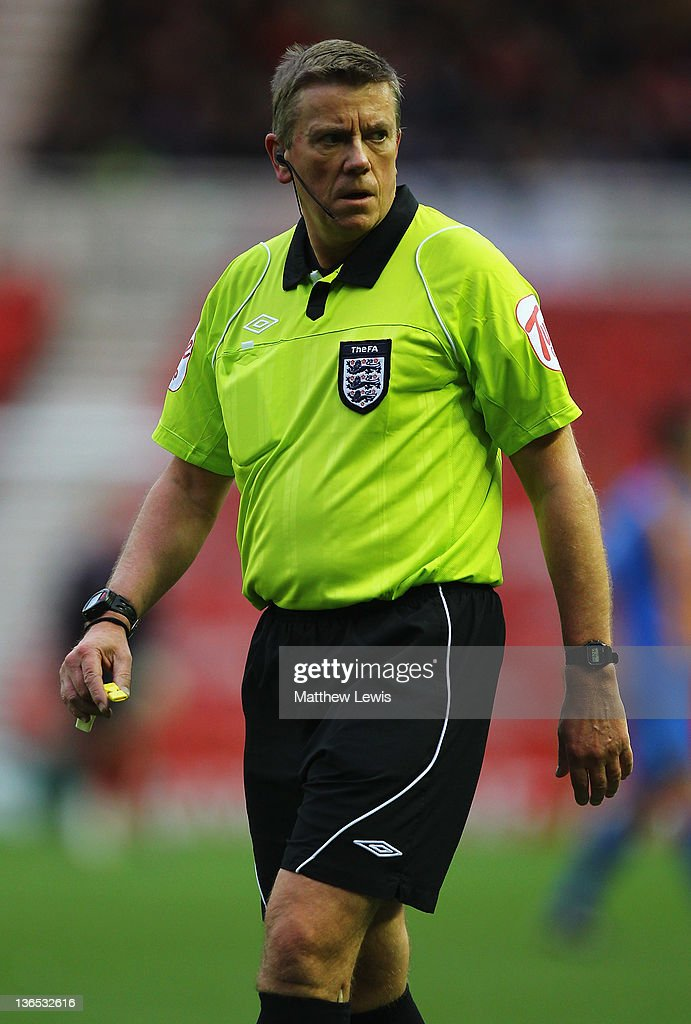 Referee Tony Bates in action during the FA Cup Third Round match between Middlesbrough and Shrewsbury Town at Riverside Stadium on January 7, 2012 in Middlesbrough, England.