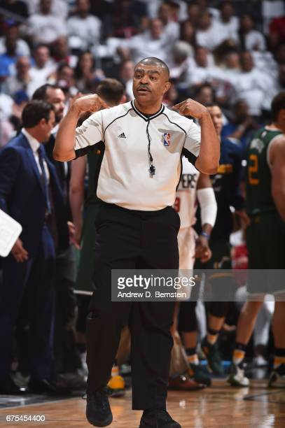 Referee Tony Brothers makes a call between the Utah Jazz and the LA Clippers during Game Seven of the Western Conference Quarterfinals of the 2017...