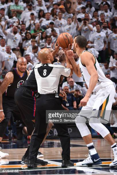 Referee Tony Brown tosses up the opening tip off before Game Four of the Western Conference Quarterfinals between the LA Clippers and Utah Jazz of...