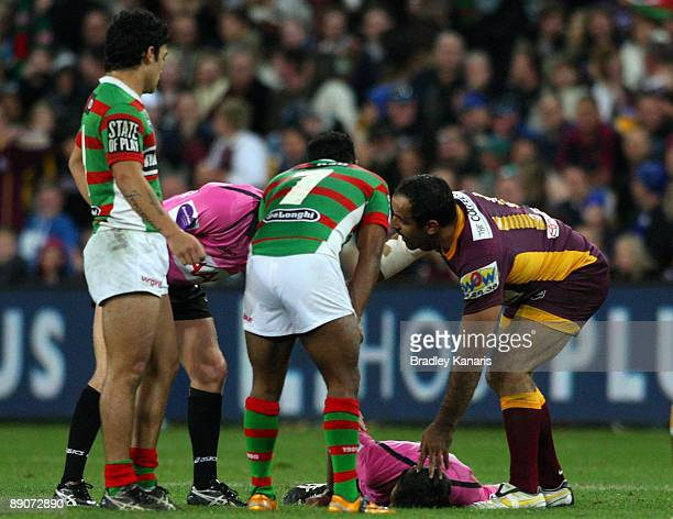 Referee Tony De Las Heras is knocked unconcious during the round 19 NRL match between the South Sydney Rabbitohs and the Brisbane Broncos at Suncorp...