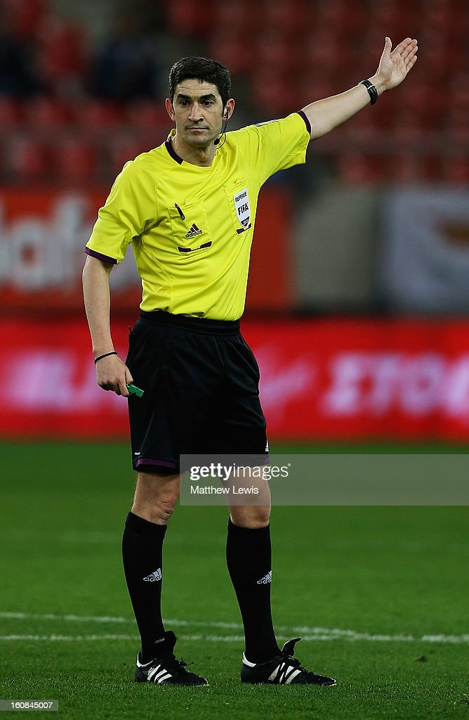 Referee Undiano Mallenco in action during the International Friendly match between Greece and Switzerland at Karaiskakis Stadium on February 6, 2013 in Athens, Greece.