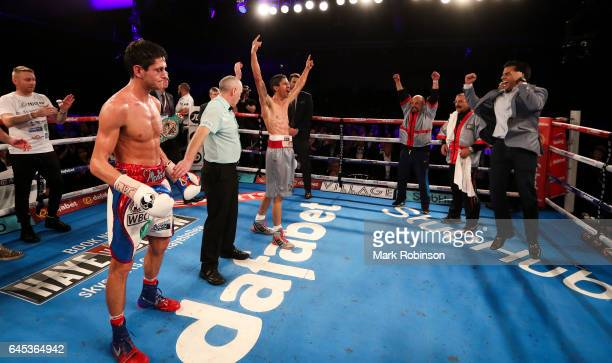 Referee Victor Loughlin holds aloft the hand of Rey Vargas after his fight against Gavin McDonnell for the Vacant WBC SuperBantamweight Championship...