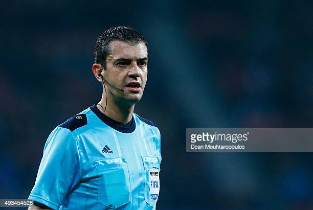 Referee Viktor Kassai looks during the UEFA Champions League Group E match between Bayer 04 Leverkusen and AS Roma at BayArena on October 20 2015 in...