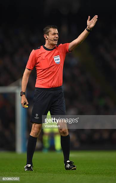 Referee Viktor Kassai of Hungary during the UEFA Champions League match between Manchester City FC and FC Barcelona at Etihad Stadium on November 1...