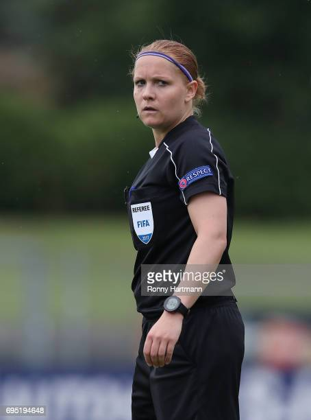 Referee Viola Raudzina of Lithuania looks on during the U19 women's elite round match between Germany and Switzerland at Friedensstadion on June 9...
